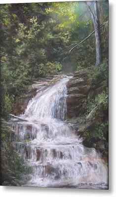 Metal Print featuring the pastel Kent Falls by Jack Skinner