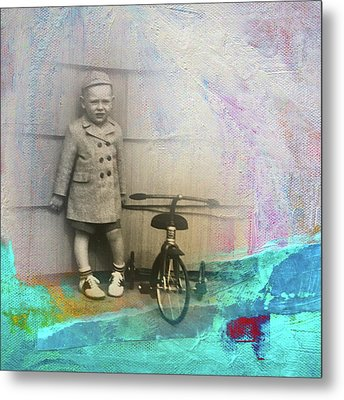 Metal Print featuring the mixed media Kent Tricycle by Nancy Merkle