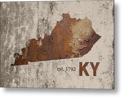 Kentucky State Map Industrial Rusted Metal On Cement Wall With Founding Date Series 002 Metal Print by Design Turnpike