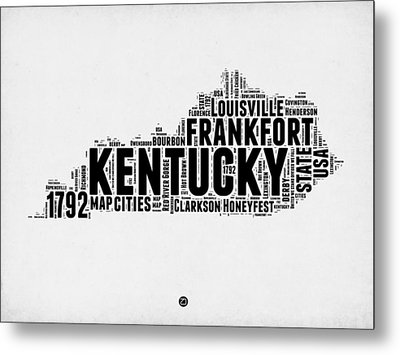 Kentucky Word Cloud Map 2 Metal Print by Naxart Studio