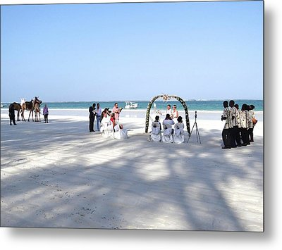 Kenya Wedding On Beach Wide Scene Metal Print by Exploramum Exploramum
