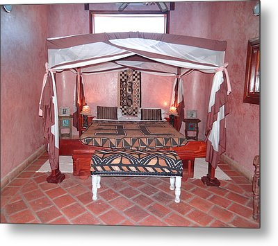 Kenyan African Traditional Double Bed Metal Print
