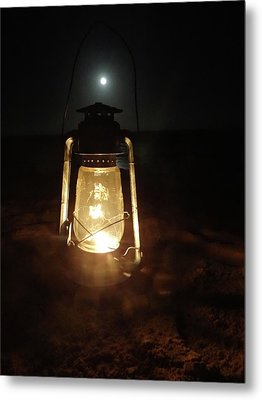 Kerosine Lantern In The Moonlight Metal Print by Exploramum Exploramum