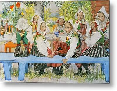 Kersti's Birthday Metal Print by Carl Larsson