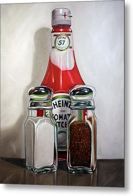 Ketchup And Salt And Pepper Shaker Metal Print