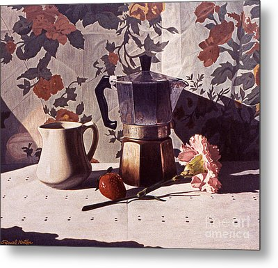 Kettle And Pink Carnation Metal Print by Daniel Montoya