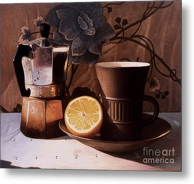Kettle Cup And Saucer Metal Print by Daniel Montoya
