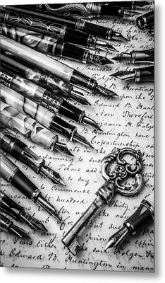Key And Fountain Pens Metal Print by Garry Gay