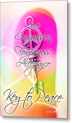 Key To Peace. Life Motivation Quote Metal Print