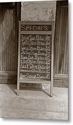 Key West Depression Era Restaurant Specials Metal Print by John Stephens