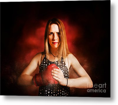 Kickboxing Gym Girl In Boxing Fitness Competition  Metal Print by Jorgo Photography - Wall Art Gallery