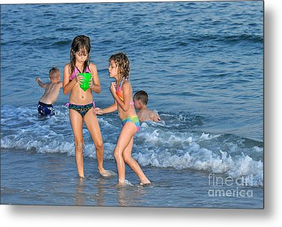 Kids At The Beach Metal Print by Rose  Hill