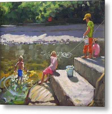 Kids Fishing   Looe   Cornwall Metal Print