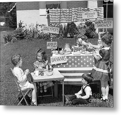 Kids Setting Up Shop, C.1950s Metal Print