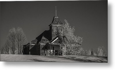 Kimberly School House Black And White Metal Print by Paul Freidlund