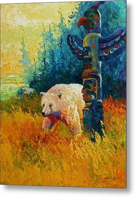 Kindred Spirits - Kermode Spirit Bear Metal Print by Marion Rose