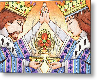 King And Queen Of Clubs Metal Print by Amy S Turner