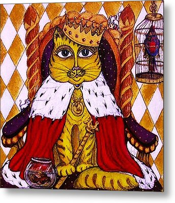 King Cat  Metal Print by Rae Chichilnitsky