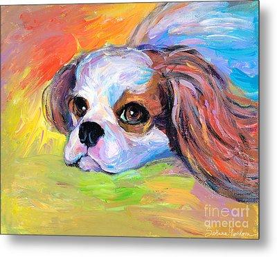King Charles Cavalier Spaniel Dog Painting Metal Print by Svetlana Novikova
