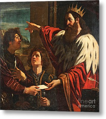 King David Giving Uriah A Letter Metal Print by MotionAge Designs
