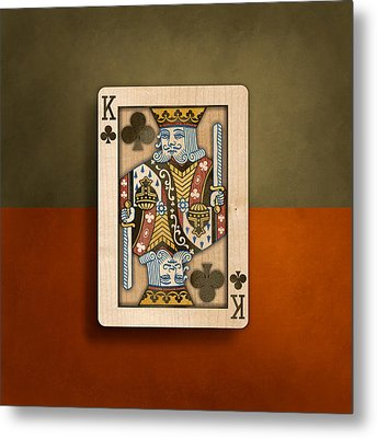 King Of Clubs In Wood Metal Print by YoPedro