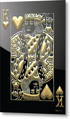 King Of Hearts In Gold On Black Metal Print