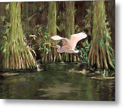 Metal Print featuring the painting King Of The Swamp by David  Van Hulst
