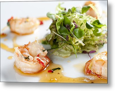 King Prawns Ginger Chilli And Coriander Starter Presented On A White Background Metal Print by Andy Smy