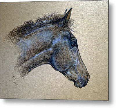 Metal Print featuring the drawing King by Suzanne McKee