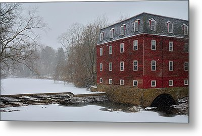 Metal Print featuring the photograph Kingston Mill In Winter Storm by Steven Richman