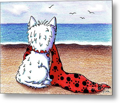 Kiniart Beach Blanket Westie Metal Print by Kim Niles