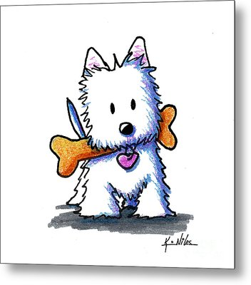 Kiniart Westie With Bone Metal Print
