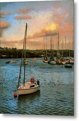 Metal Print featuring the painting Kinsale Harbour Evening by Jeff Kolker