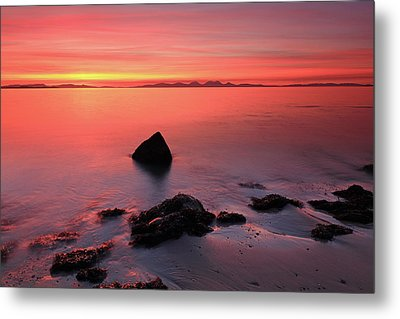 Metal Print featuring the photograph Kintyre Rocky Sunset 2 by Grant Glendinning