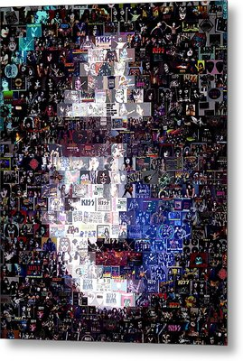 Kiss Ace Frehley Mosaic Metal Print by Paul Van Scott