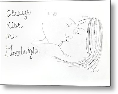 Metal Print featuring the drawing Kiss Me Goodnight by Rebecca Wood