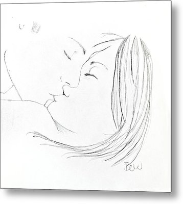 Metal Print featuring the drawing Kiss Me Goodnight Without Quote by Rebecca Wood