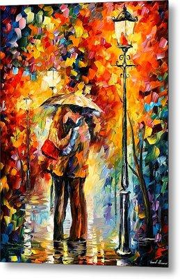 Kiss Under The Rain Metal Print by Leonid Afremov