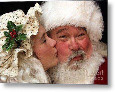 Kissing Santa Claus Metal Print