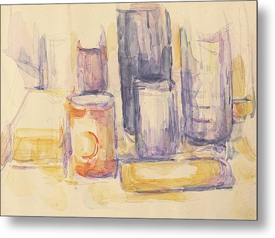 Kitchen Table  Pots And Bottles Metal Print by Paul Cezanne