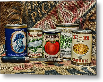 Kitchen - Vintage Food Cans Metal Print by Paul Ward