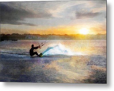 Kite Boarding At Sunset Metal Print