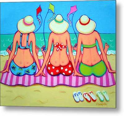 Kite Flying 101 - Girlfriends On Beach Metal Print by Rebecca Korpita