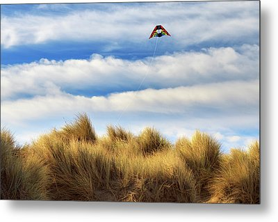Metal Print featuring the photograph Kite Over The Hill by James Eddy