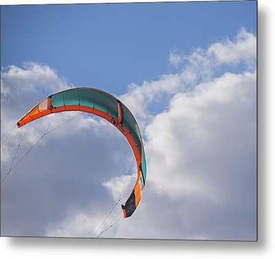 Kiteboard Sail In The Clouds On Pompano Beach Florida Metal Print