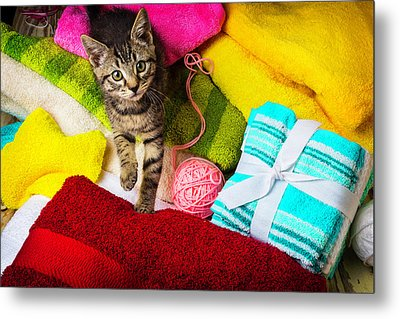 Kitten Among Bath Towels Metal Print by Garry Gay