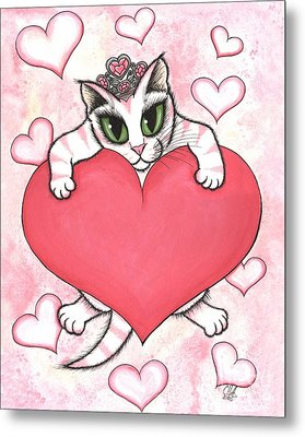Kitten With Heart Metal Print by Carrie Hawks