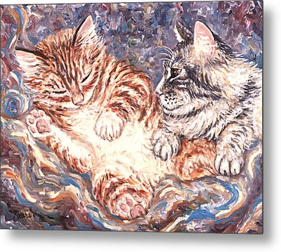 Kittens Sleeping Metal Print by Linda Mears