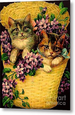 Kittens With Violets Victorian Print Metal Print