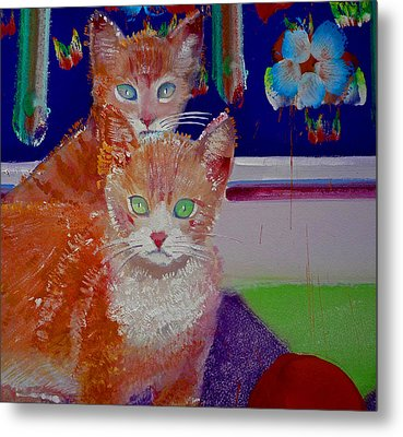 Kittens With Wild Wallpaper Metal Print by Charles Stuart